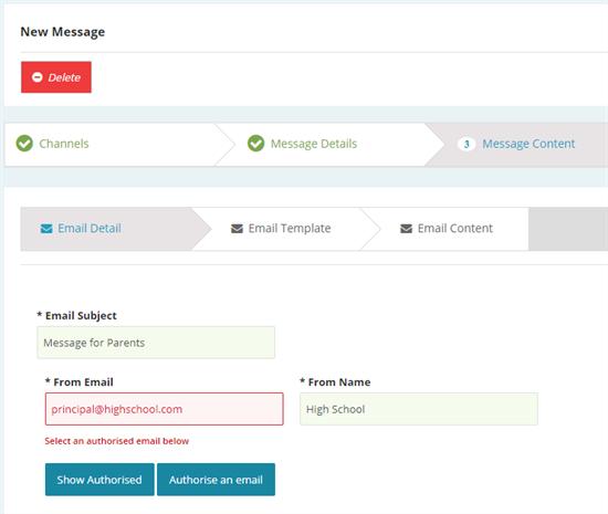 KB Authorised Senders Message Content